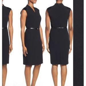 Hugo Boss Difena black belted sheath dress